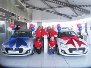 CMH Suzuki Umhlanga- ALL-NEW-Suzuki-Swift silver and white wth the CMH Suzuki Umhlanga Team